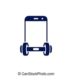 Smart phone with barbell fitness logo vector