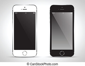 Smart Phone with black and white color Isolated / Realistic white vector.