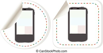 Smart phone with blank screen web button isolated on white background, vector