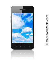 Smart phone with blue sky on white background