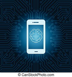Smart Phone With Brain Image Icon Over Blue Circuit Motherboard Background