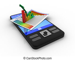 smart phone with business chart graph
