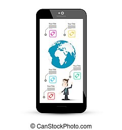 Smart Phone with Business Infographic Design on Screen