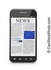 Smart phone with business news article - 3d illustration of...
