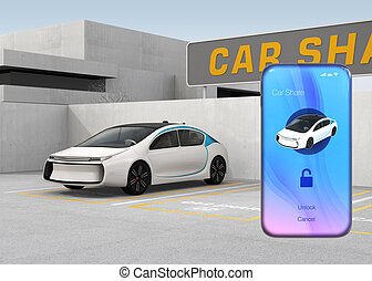Smart phone with car sharing app in front of the white car....