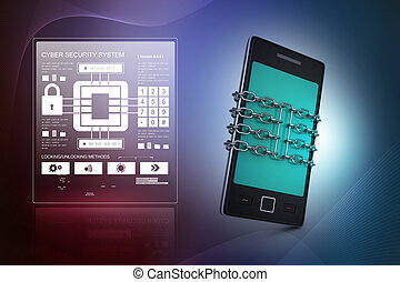 Smart phone with chain, safety concept