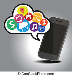 Smart phone with cloud technology concept