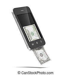 Smart phone with dollars isolated on a white background