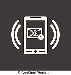 Smart phone with Email symbol on the screen. Vector illustration in flat style on black background.