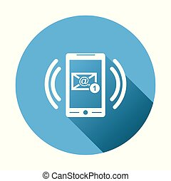 Smart phone with Email symbol on the screen. Vector illustration in flat style on round blue background.