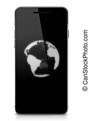 Smart phone with globe on touch screen