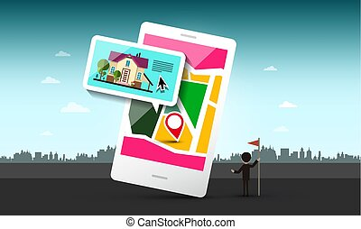Smart Phone with House and Pin on Map. Vector Urban Landscape.