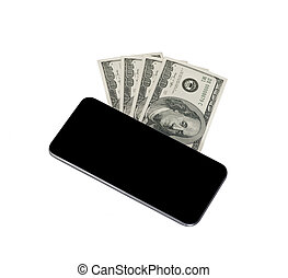 Smart phone with hundred dollars
