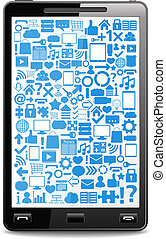 Smart phone with icons on the screen