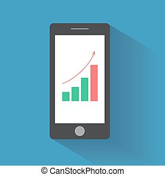 Smart phone with increasing bar chart on the screen