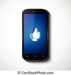 Smart Phone With Like Icon On Screen