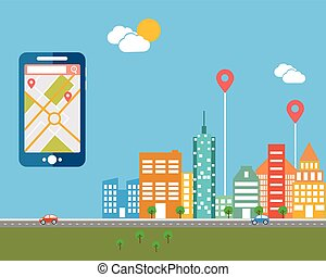 Smart-phone with mobile navigation. Flat design modern vector illustration icons set of urban landscape and city life