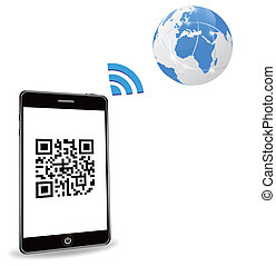 smart phone with QR code - EPS 10