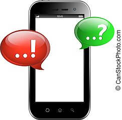 Smart-phone with question and answer speech bubbles