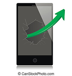 Smart phone with success growth green arrow.