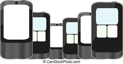 Smart Phones set isolated on white background