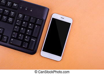 Smart phones with a QWERTY keyboard and a battery charger.