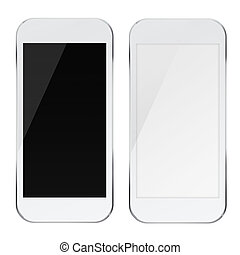 Smart phones with black and blank screens.