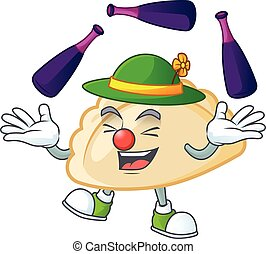 Smart pierogi cartoon character design playing Juggling. Vector illustration