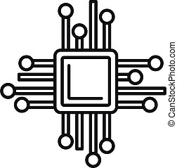 Smart processor icon, outline style