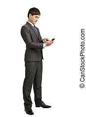 smart, räcka telefonera, affärsman