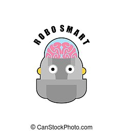 Smart robot. Emblem of Biomechanics of human brain. Logo for...