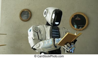 Smart robot reading interesting book