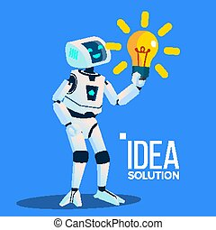 Smart Robot With Yellow Bulb Find An Idea, Solution Vector. Isolated Illustration