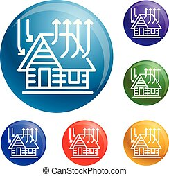Smart roof house icons set vector