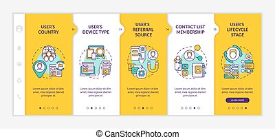 Smart rules criteria onboarding vector template. Responsive mobile website with icons. Web page walkthrough 5 step screens. Digital marketing color concept with linear illustrations