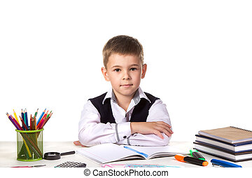 Smart serious excellent pupil sitting still at the desk with white background