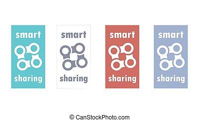 Smart sharing economy logo. Peer to peer exchange. Rent goods.