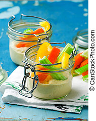 smart snacking pack veggies dip together in a jar