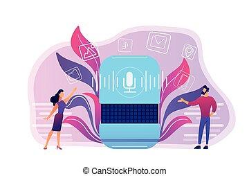 Smart speaker apps marketplace concept vector illustration....