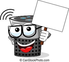 smart speaker cartoon funny blank banner copyspace isolated...