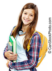 Smart student - Cute girl with books smiling at camera in...