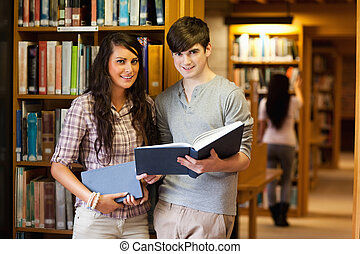 Smart students with a book