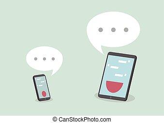 smart, tablet, telefoon, toespraak