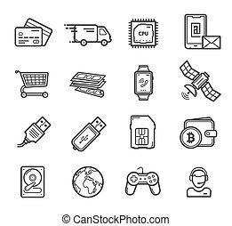 Smart technology devices, vector icons - Smart technology...