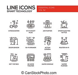 Smart Technology- line design icons set - Smart Technology -...