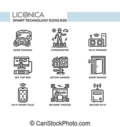 Smart Technology - modern vector flat line desigm icons set....