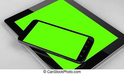 smart, telefoon, en, tablet, vrijstaand, met, chroma, en, tracking, punten