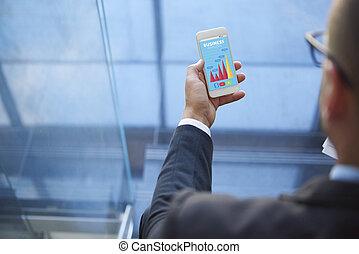 smart, telefoon, gebruikt, door, een, moderne, zakenman