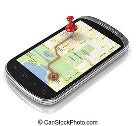 smart, telefoon, navigatie, -, beweeglijk, navigatiesysteem