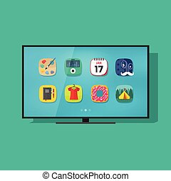 Smart television vecto, flat screen tv with technology app icons
